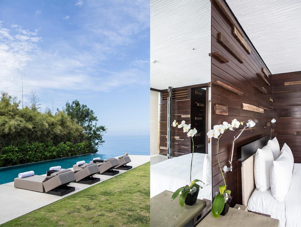 Kiri: kolam renang privat di Alila Uluwatu dengan pemandangan laut lepas; kanan: kamar tidur dengan desain minimalis.