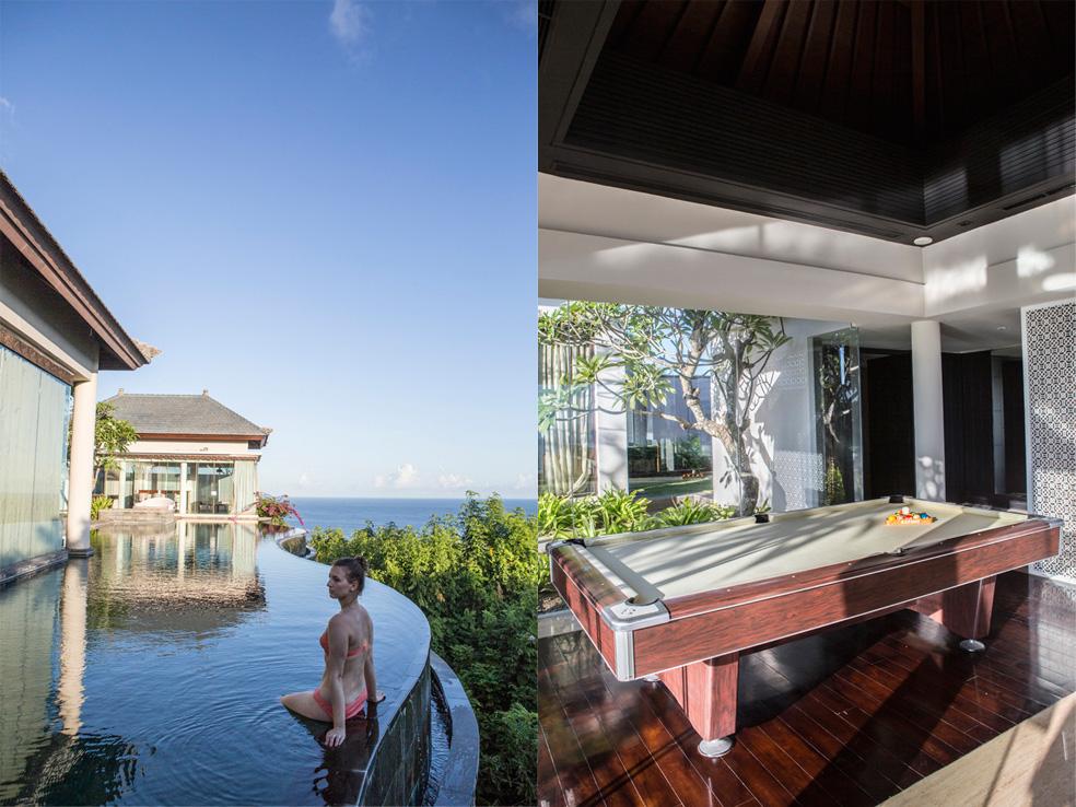 Kiri: kolam renang privatnya merupakan yang terpanjang di Bali; kanan: meja biliar di zona hiburan vila.