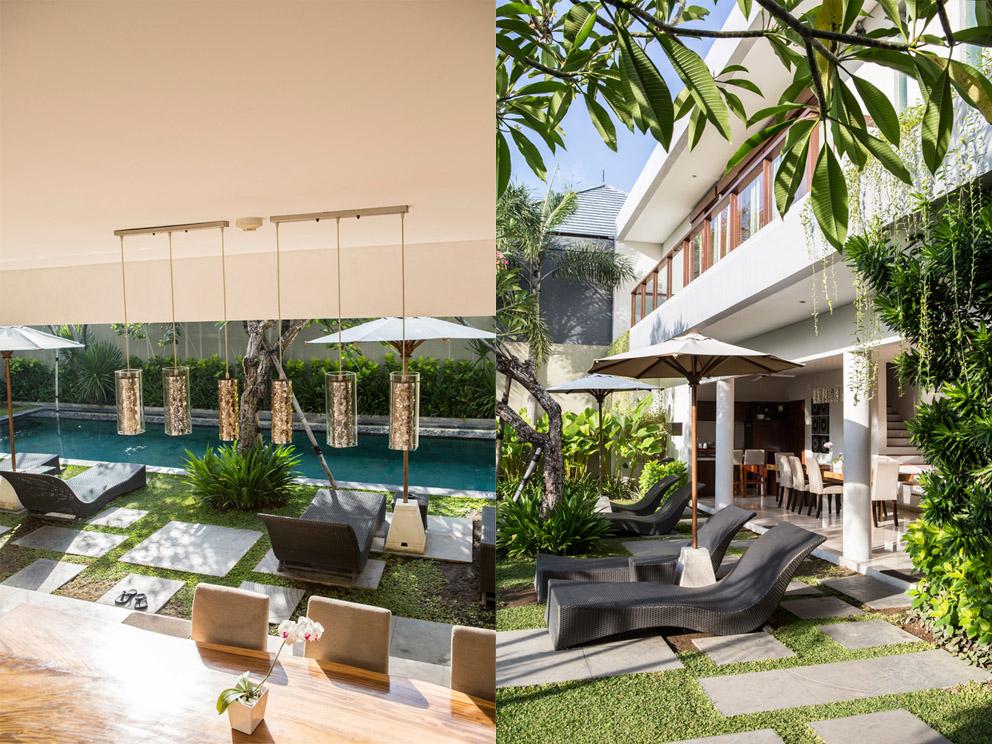 Kiri: kolam renang privat yang menyatu dengan ruang makan yang terbuka; kanan: vila empat kamar yang luas.