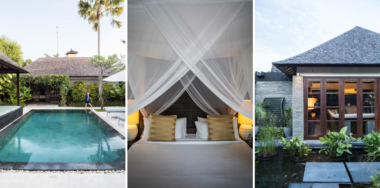 Kiri: tiap vila dilengkapi dengan kolam renang privat; tengah: kamar tidur dengan sentuhan lokal; kanan: unitnya juga dihiasi dengan kolam ikan.
