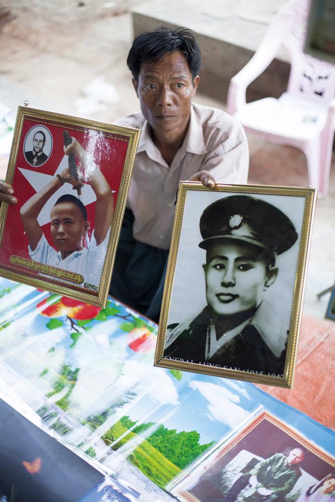 Foto Jenderal Aung San yang dijual di sebuah pasar di Naypyidaw. Foto: Christopher Davy.