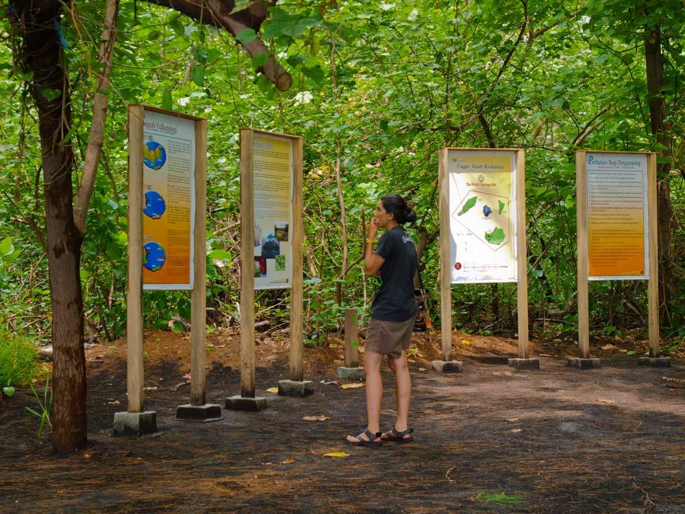 Seorang wisatawan asing membaca papan petunjuk di Cagar Alam Krakatau.