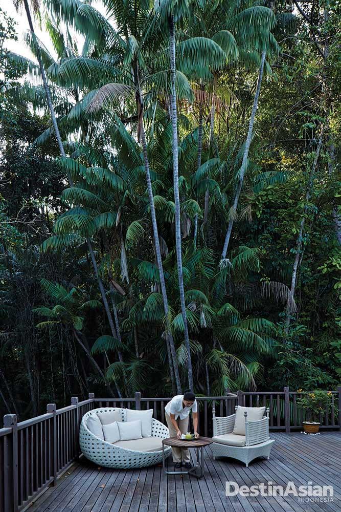 Salah satu sudut bersantai para tamu yang dikepung pepohonan hijau.