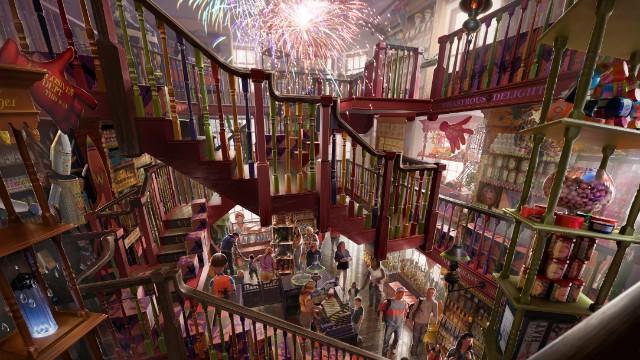 Toko-toko barunya lebih beragam, salah satunya toko suvenir Weasleys' Wizzard Wheezes yang terinspirasi tokoh kembar Weasley. (Foto: Universal Resort Orlando)