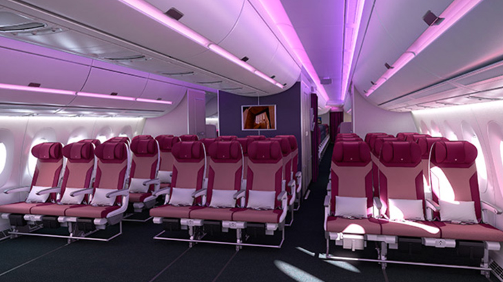 Kursi lebih lebar dan interior lebih luas. Kapasitas pun bertambah. Kabin dilengkapi dengan mood lighting yang memberikan rasa nyaman pada penumpang.
