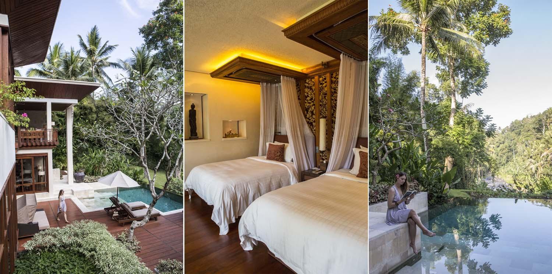 Kiri: Vila raksasa di Four Seasons Sayan; tengah: tempat tidur dengan papan ukiran bayu; kanan: vilanya menghadap langsung ke Sungai Ayung.