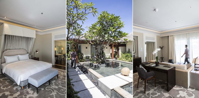 Kiri: desain modern dan elegan dari Sofitel; tengah: tiap kamar inklusif servis dari personal butler; kanan: ruang tamu yang nyaman.