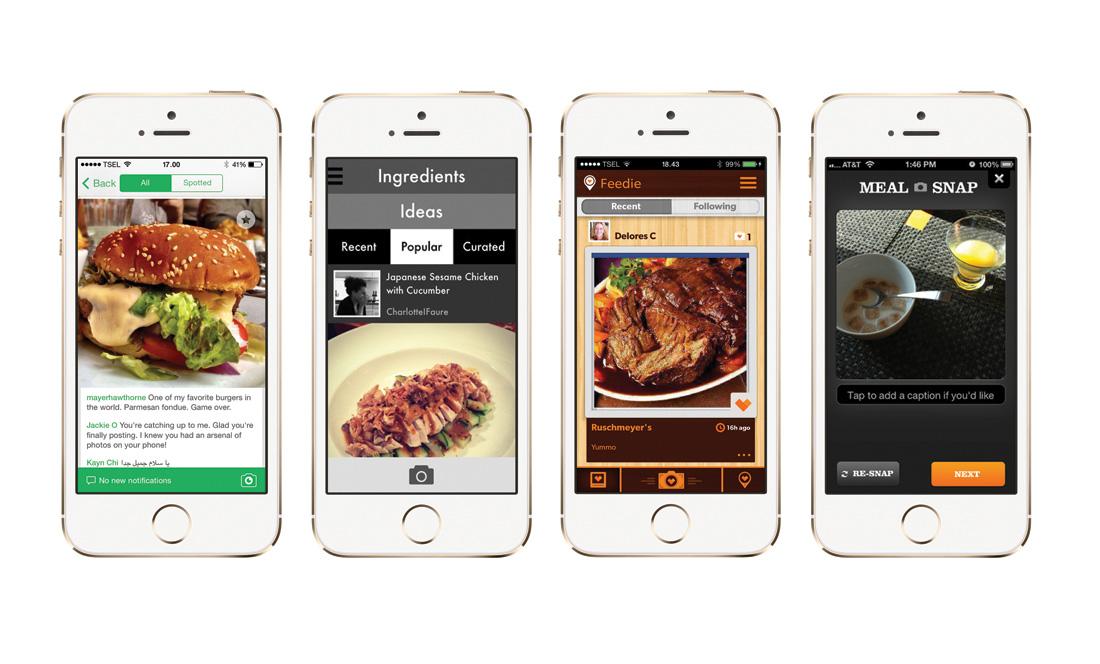 Empat aplikasi cerdas bagi para pemburu makanan. Dari kiri ke kanan: Foodspotting, Platter, Feedie, dam Meal Snap.