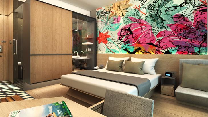 Seperti saudaranya, masing-masing kamar dihias mural karya seniman lokal.