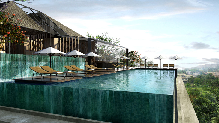 Tak seperti dua properti Artotel lainnya, cabang Sanur dilengkapi kolam renang.