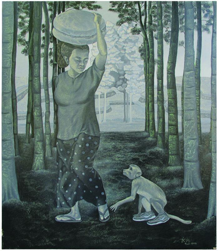Lukisan cat minyak karya Bambang Juliarta.