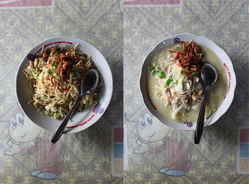 Bakmi goreng dan bakmi rebus di warung Bakmi Mbah Mo.