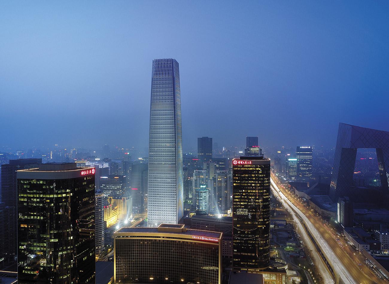 Gedung China World Summit Wing di Beijing. Di dalamnya terdapat Hotel Shangri-La.