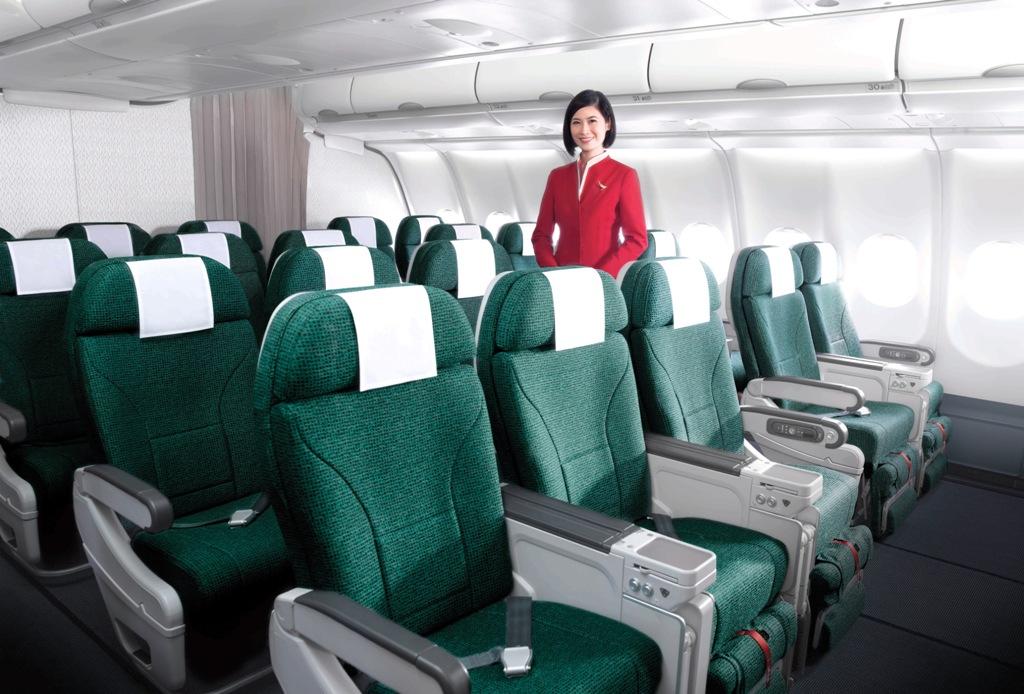 Kabin Premium Economy yang menjadi andalan Cathay Pacific.