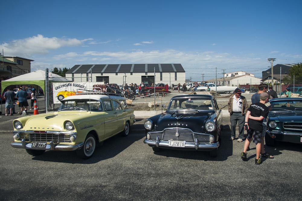 Pameran mobil dan motor klasik bertajuk Big Boys Toys di Kota Greymouth.