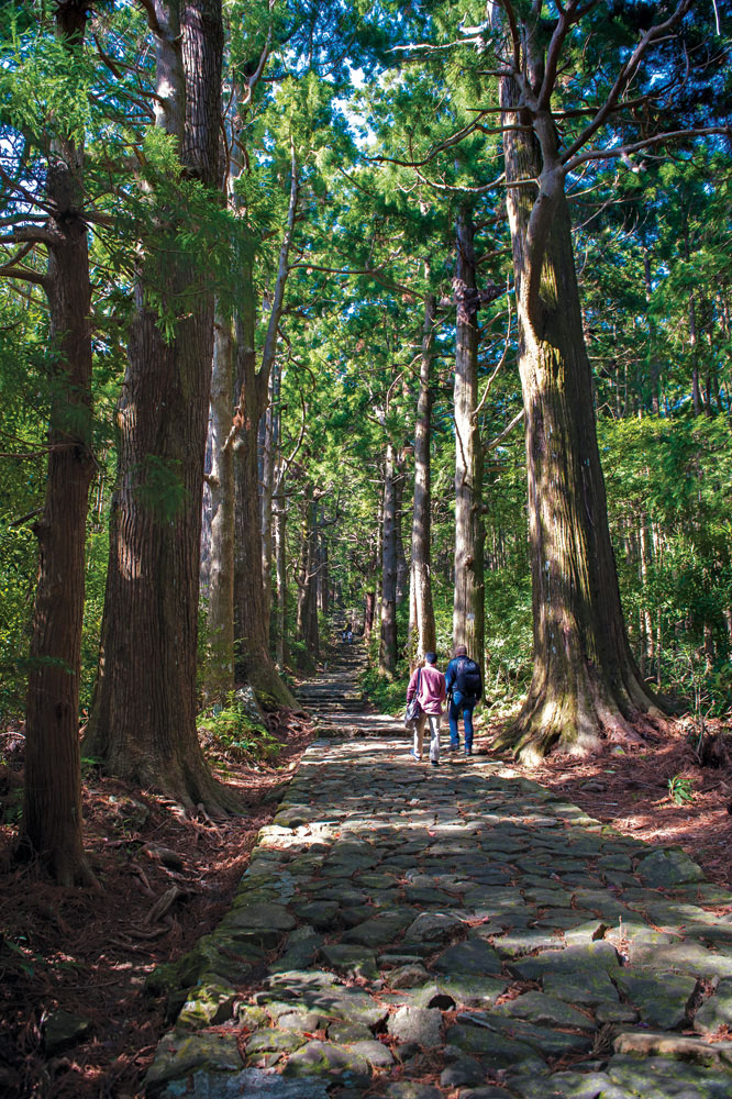 Menyusuri jalan batu Daimon-zaka menuju Kuil Nachi Taisha.