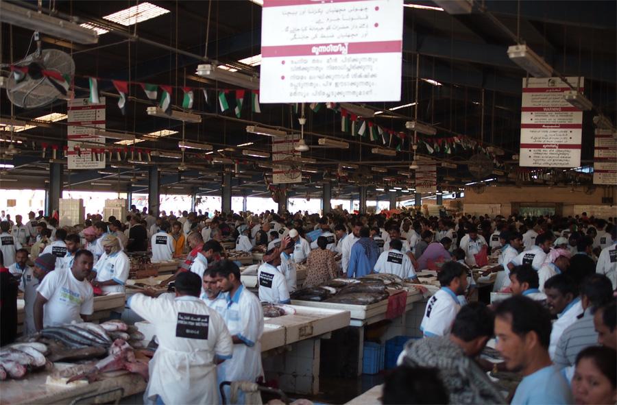 Suasana pasar ikan di Dubai.