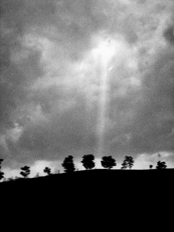 Cahaya matahari di balik awan menyoroti pepohonan di sebuah bukit.