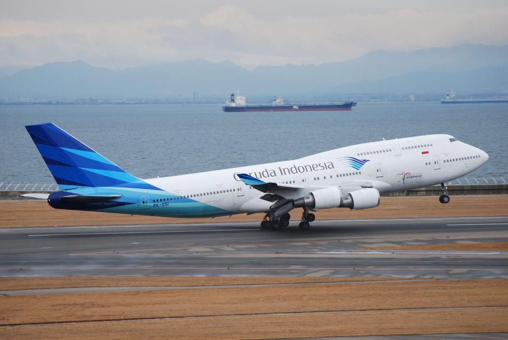 Pesawat Boeing 747-400 yang melayani rute ke Jeddah.