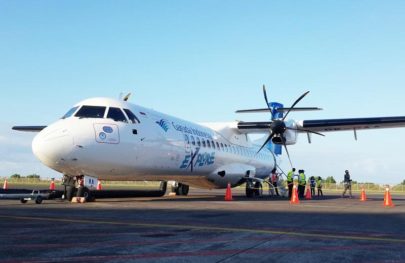 Pesawat baling-baling ATR72-600 yang melayani rute ini.