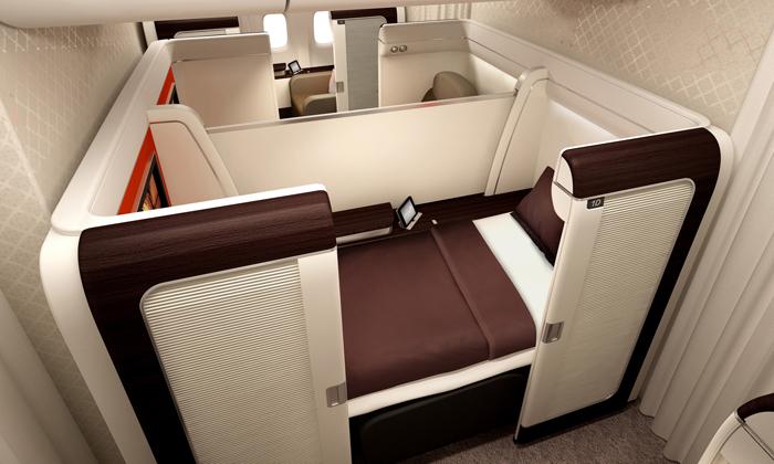 Kabin First Class tersedia di penerbangan ini.