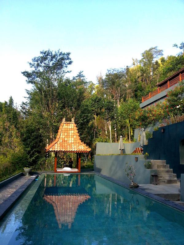 Kolam renang utama di Villa Borobudur.