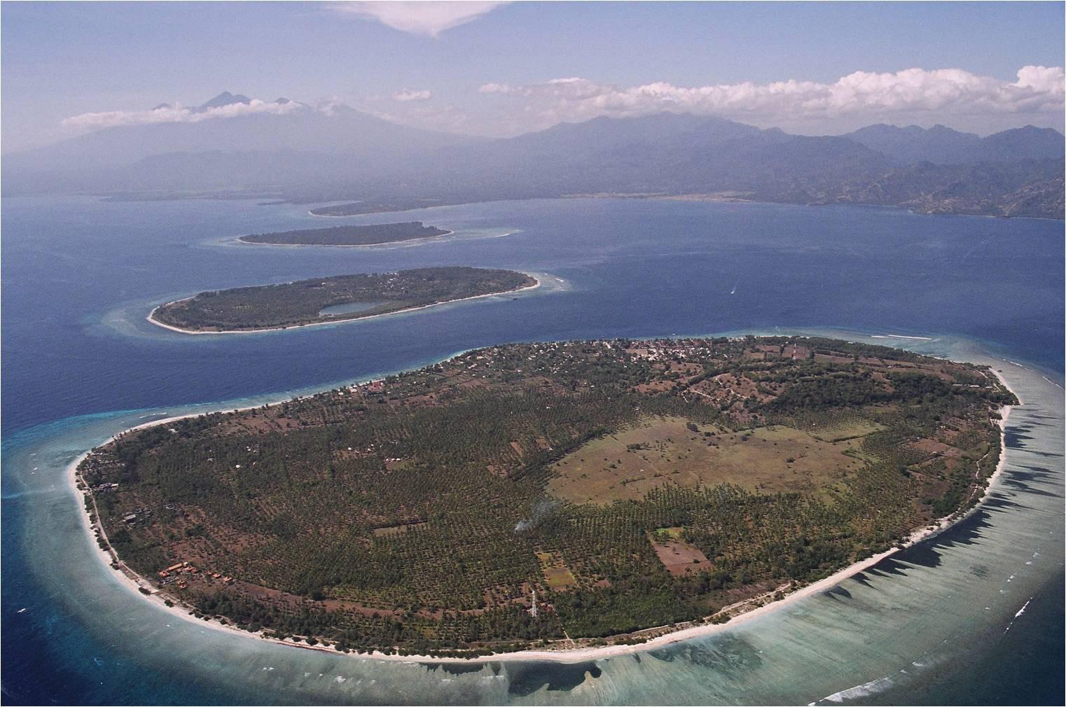 Pulau Gili Trawangan dari udara.