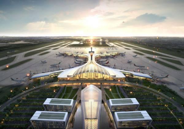 Desain Bandara Internasional Hantawaddy yang pembangunannya dibantu oleh tim dari Bandara Incheon, Korsel.