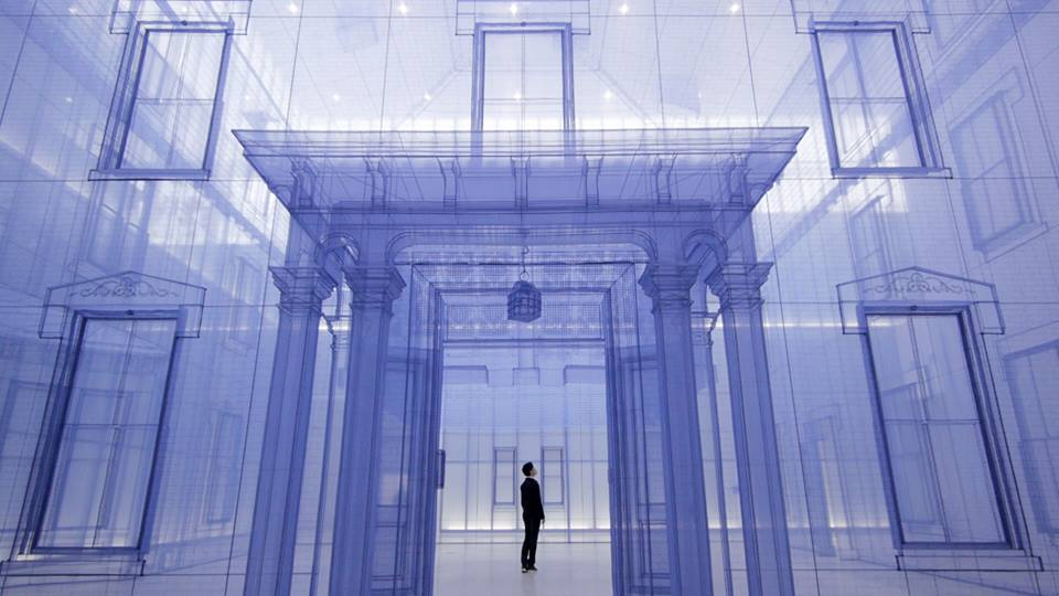 Instalasi seni berjudul <i>Home Within Home Within Home Within Home Within Home</i> karya Do-Ho Suh.