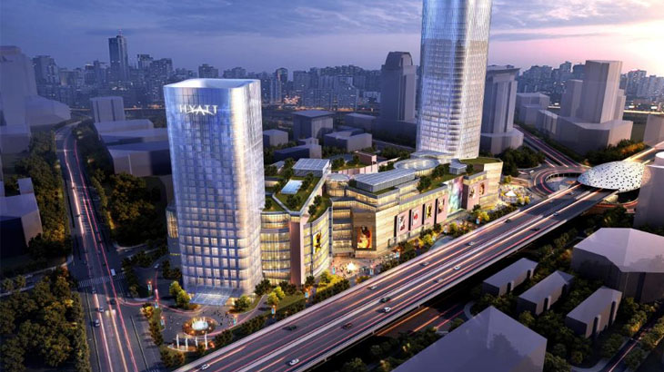 Kompleks mal dan perkantoran baru di Shanghai.