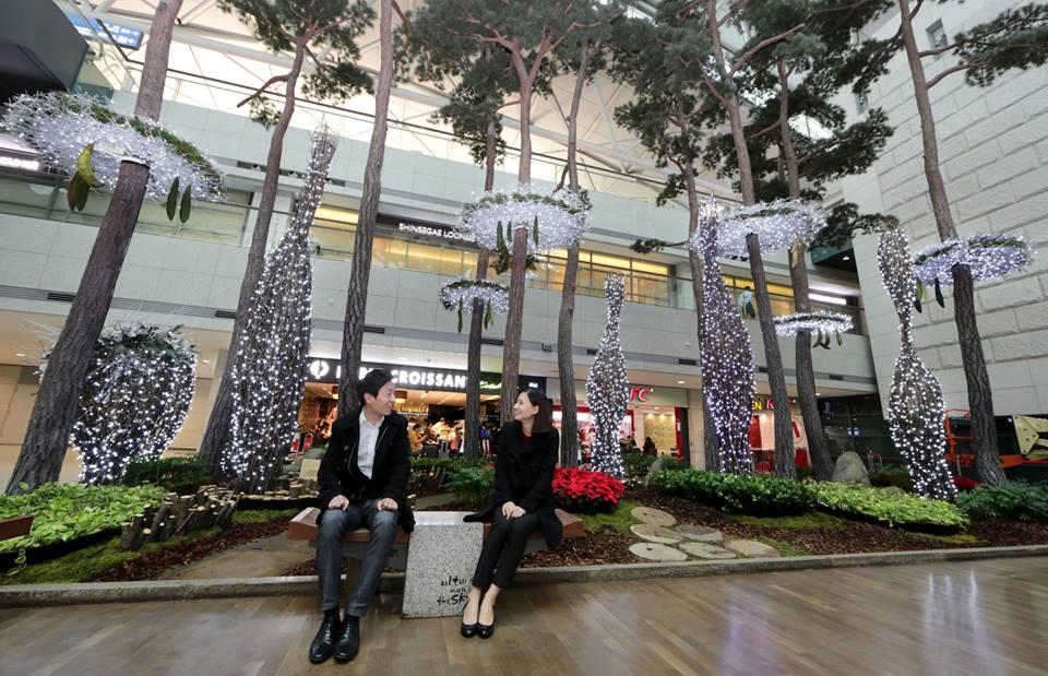 Taman artifisial di Bandara Incheon. Selama dua tahun berturut-turut Incheon selalu membayangi Changi.