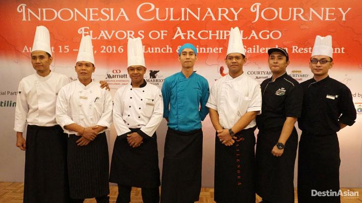 Tujuh koki dari tujuh properti Grup Marriott Internasional di Indonesia.