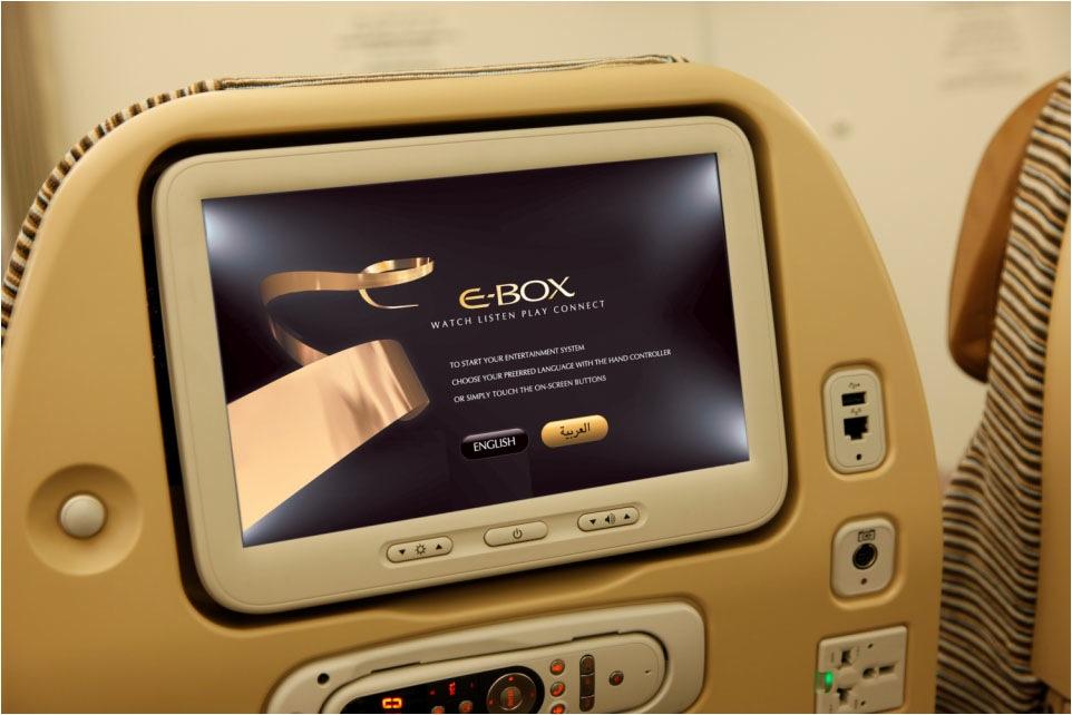 Panasonic E-box, sistem hiburan milik Etihad yang bisa menyiarkan pertandingan Piala Dunia secara langsung.