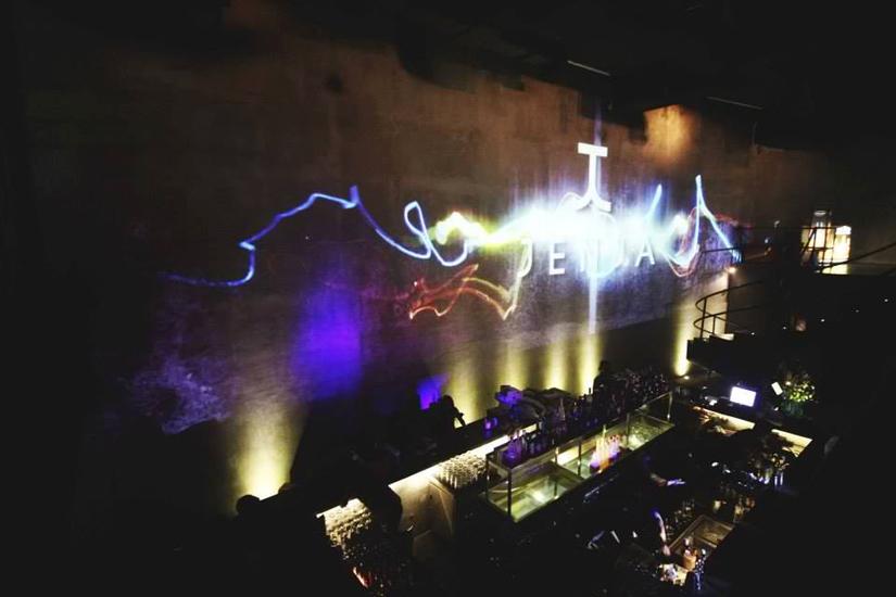 Tembok di Jenja yang bisa dijadikan kanvas video mapping dan laser. (Foto: Jenja Bali)