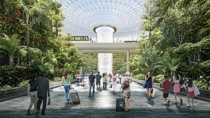 Proyek Jewel of Changi yang berisi pusat retail dan rekreasi yang akan rampung pada 2019.