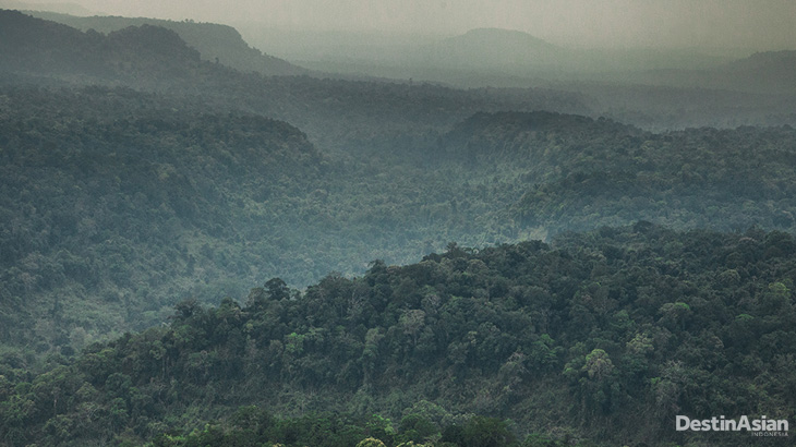 Panorama pegunungan rimbun Cardamom di Provinsi Koh Kong, sisi barat Kamboja.