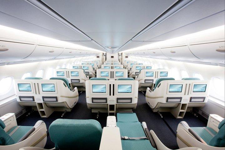 Kabin kelas bisnis di armada A380.