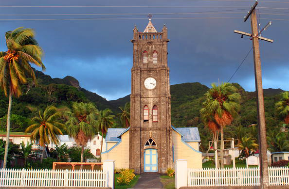 Kota pelabuhan Levuka di Fiji.