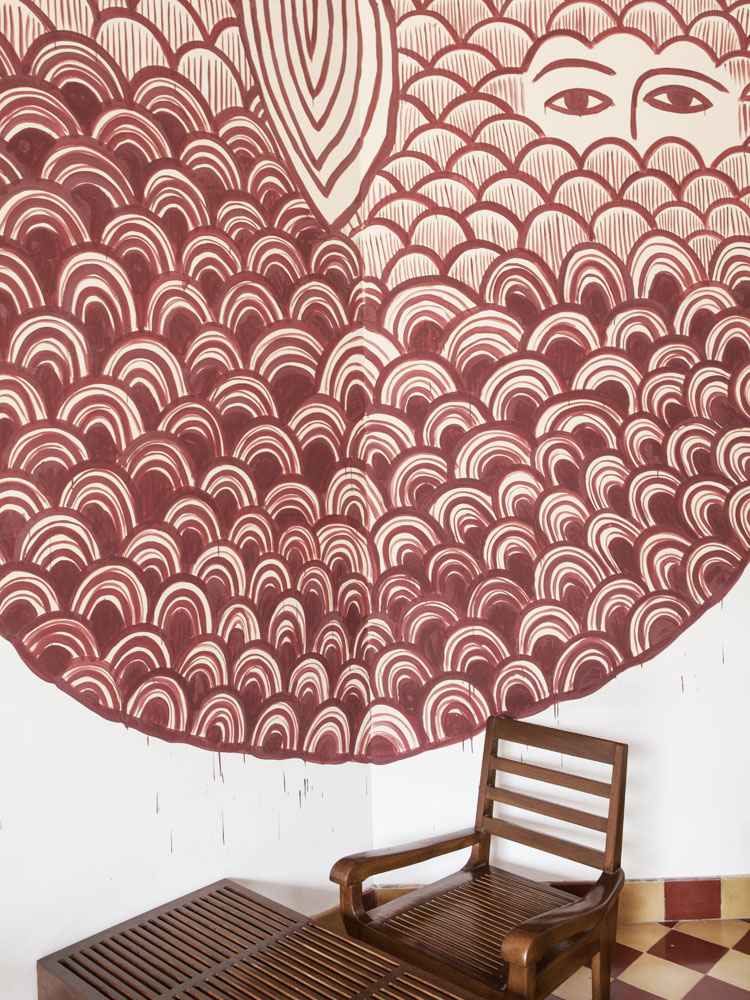 Mural khas Eko Nugroho menghiasi dinding lounge di OHD Museum.