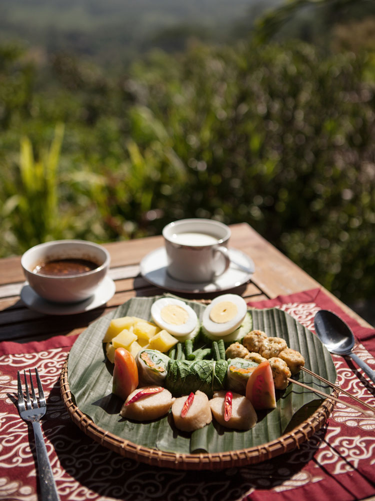 Sajian gado-gado untuk sarapan di Villa Borobudur.