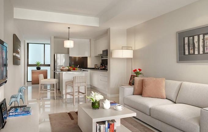 Desain kamar di Oakwood Residence Garden Towers Bangna yang modern.