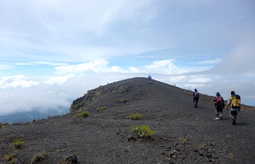 Dalam perjalanan turun dari puncak menuju jalur pendakian Pancasila.