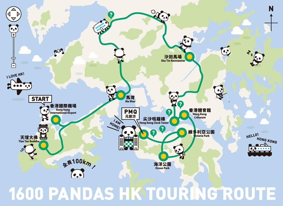 Peta tur patung-patung panda di Hong Kong.