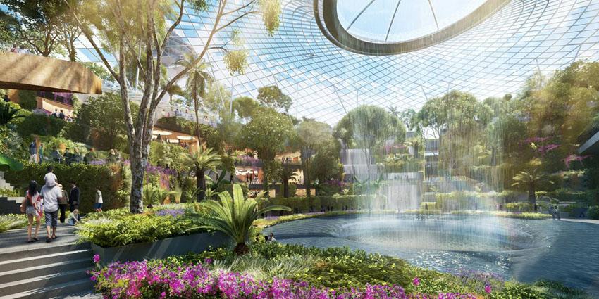 Taman raksasa dengan air terjun unik.