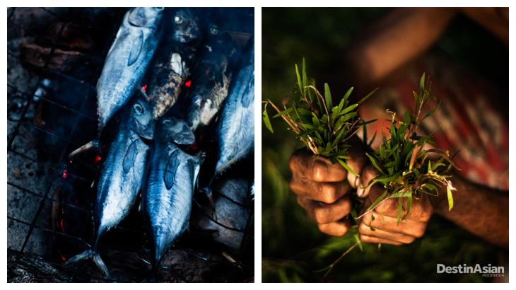 Kiri-kanan: Ikan, sumber protein utama di Pulau Buru; bertani jadi salah satu mata pencaharian warga.