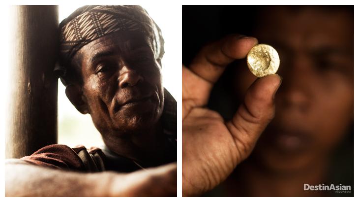 Kiri-kanan: Pria Buru yang hidup berdampingan dengan pendatang, tak seperti banyak saudaranya yang memilih tinggal di pedalaman; emas murni yang didapat di salah satu tambang Buru.