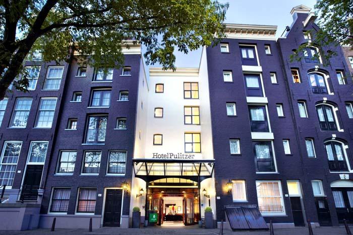 Eksterior Hotel Pulitzer di Amsterdam yang legendaris.