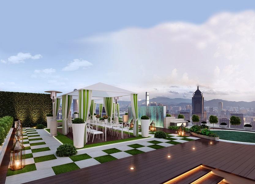 Taman di rooftop untuk keperluan hangout atau acara privat.