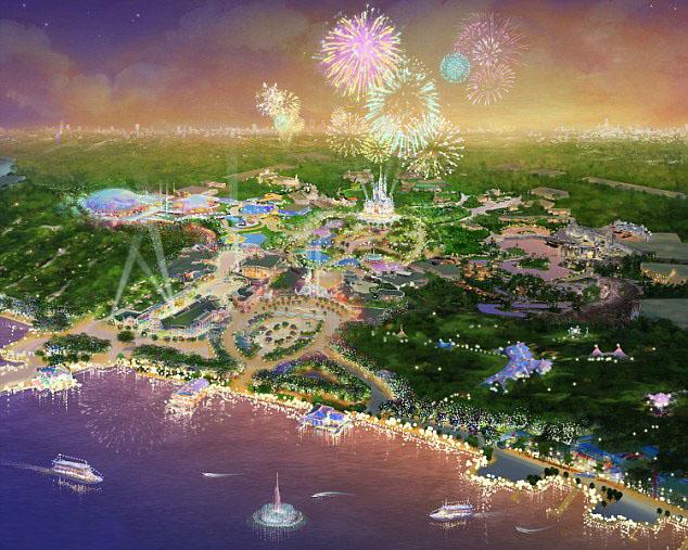 Gambar rencana bentuk jadi Disneyland Shanghai.