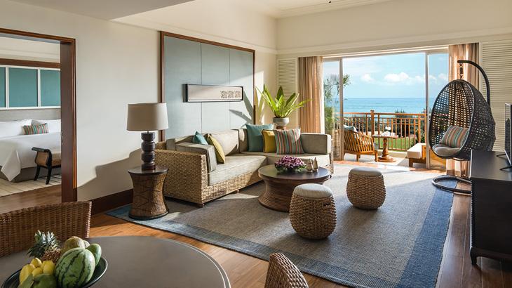 Kamar dengan pemandangan laut lepas.